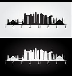 istanbul skyline and landmarks silhouette vector image