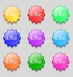 Like sign icon symbols on nine wavy colourful vector