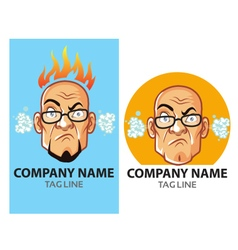Mad Bald Guy Logo vector image vector image