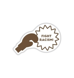 Paper sticker on white background racism vector