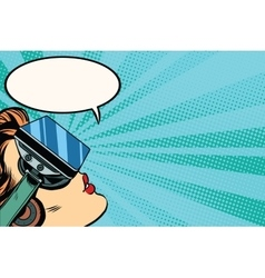Retro girl with glasses virtual reality vector image vector image