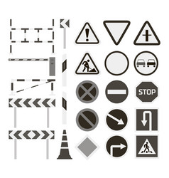 Road barriers and signs vector
