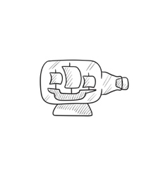 Ship inside bottle sketch icon vector image