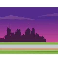 Silhouette city night road background vector