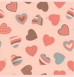Simple seamless colorful retro pattern with hearts vector
