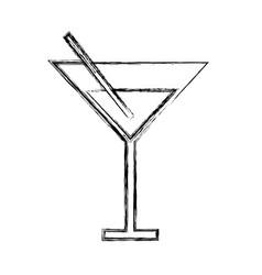 Sketch draw cocktail cartoon vector