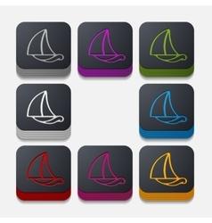 square button sailboat vector image vector image