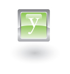 square glossy icon letter y vector image