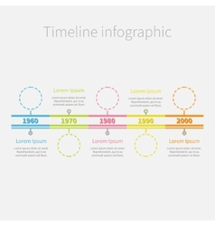 Timeline infographic colour dash line circles and vector