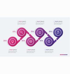 Timeline infographic design with ellipses 6 steps vector