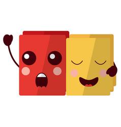 Two happy folder file cartoon kawaii icon vector