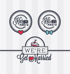Weddings photo stamps vector image vector image