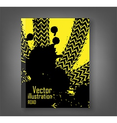 Wheel track asphalt book vector