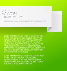 White sheet of paper on a green background Origami vector image