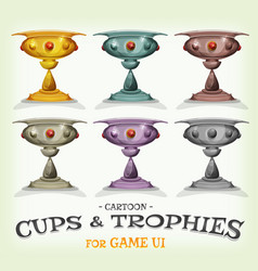Winners trophies and cups for game ui vector