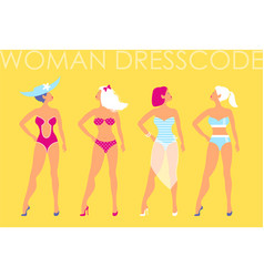 women in swimsuit of different types on a yellow vector image vector image