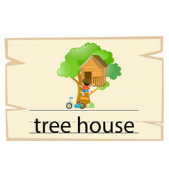 Wordcard design for word treehouse vector
