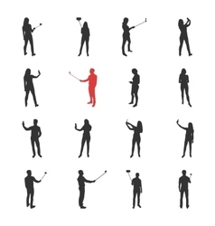 People male female silhouettes in shooting vector