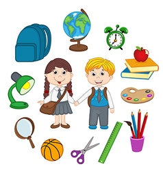 Set of isolated children and school supplies vector