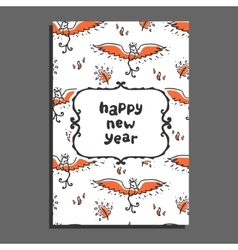 Happy new year greeting card with phoenix and vector