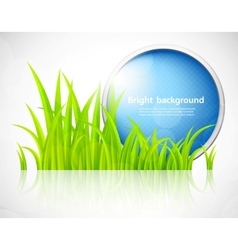 Round blue frame in grass vector