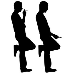 Silhouettes of men smoking vector