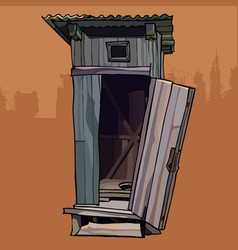 Old rustic wood broken toilet with the door open vector