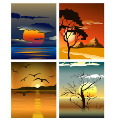 Bright yellow sunrise and sunset set vector