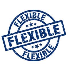 Flexible blue round grunge stamp vector