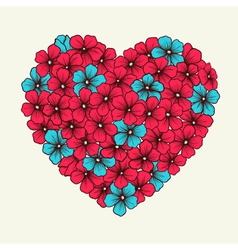 heart with flowers painted in graphic style retro vector image