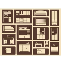 Flat furniture and interior icons vector