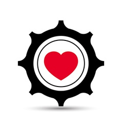 Love heart gear vector