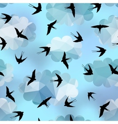 Swallows on sky background vector