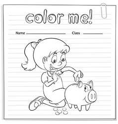 Worksheet showing a thrifty girl vector