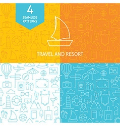 Thin line art summer holiday travel patterns set vector