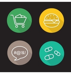Bad habits flat linear icons set vector
