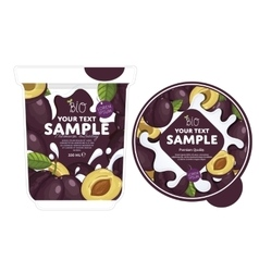 Plum yogurt packaging design template vector