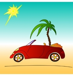 Red car and palm tree cabriolet summer vector
