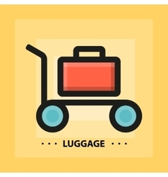 Flat luggage icon vector