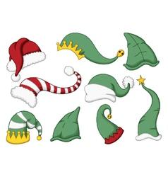 cute collection of santa hat cartoon vector image
