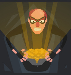 A thief in a mask opens a bag with shiny gold vector