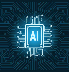 artificial intelligence chip on circuit vector image