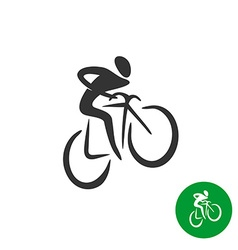 Bicyclist black silhouette logo vector image