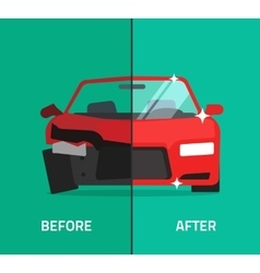 Car before after crashed broken and repaired vector