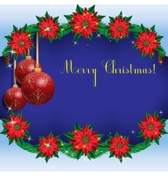 Christmas background frame with fir branches and vector image