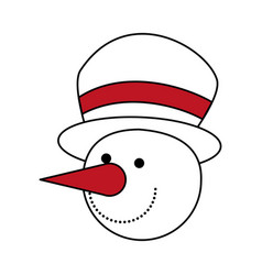 Color silhouette image of face of snowman with hat vector