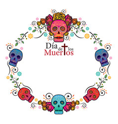 Day of the dead skull frame vector