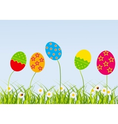 Easter eggs-flowers card vector image