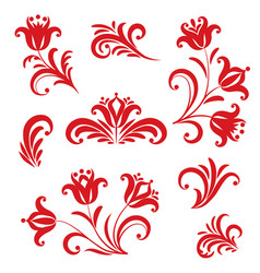 Floral pattern design element set ornamental vector