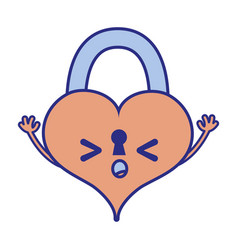 Full color sleeping heart padlock kawaii personage vector
